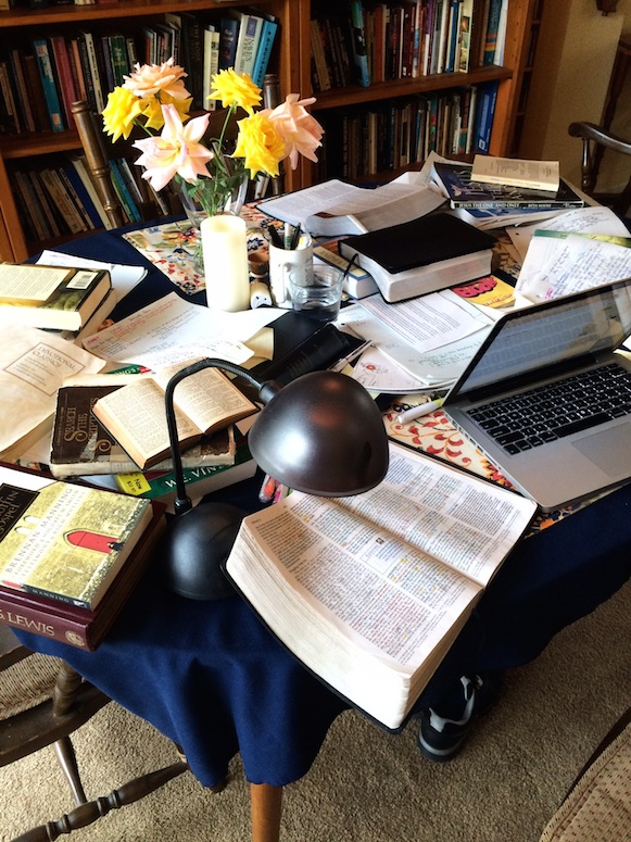 My table as I work on a Bible Study